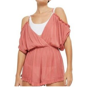 Topshop gauze blush pink cover up romper NWT